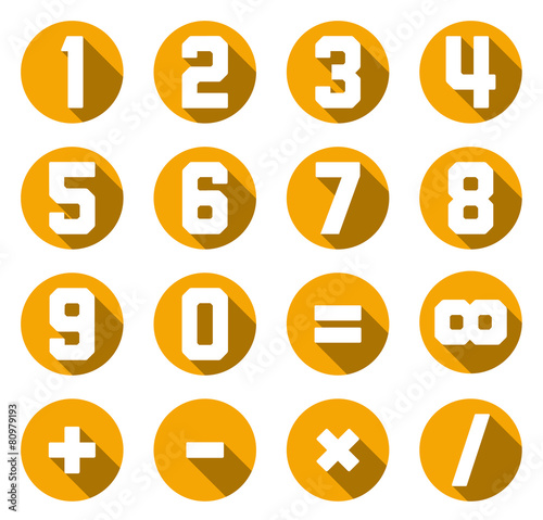 Collection Of Isolated Yellow Flat Numbers And Math Symbols Buy
