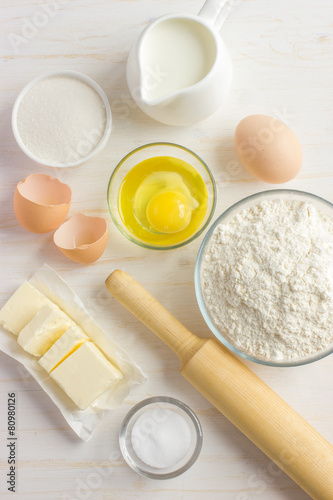 Photo  Ingredients for baking on the white wooden table