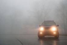 Medium Shot Of SUV Lights In T...