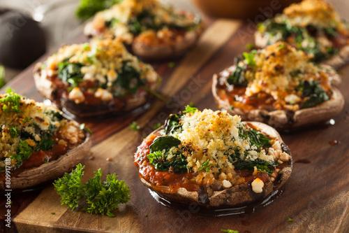 Fototapeta Homemade Baked Stuffed Portabello Mushrooms obraz