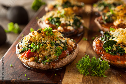 Fototapeta Homemade Baked Stuffed Portabello Mushrooms obraz
