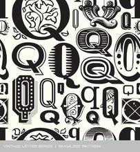Seamless Vintage Pattern Letter Q