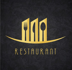 Fototapeta Logo Restaurante Gold and Black