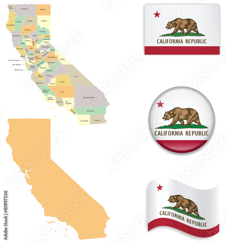 Plakat High Detailed Map of California  With Flag Icons