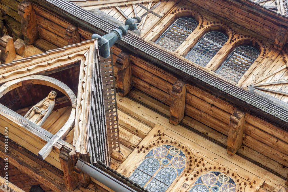 Fototapety, obrazy: Facade of Jaszczurowka Chapel - Poland, Tatra Mountains.