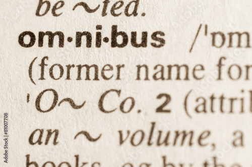Obraz na plátně Dictionary definition of word omnibus