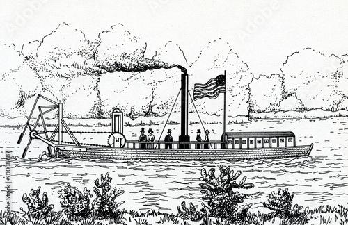 Valokuvatapetti Steamboat with stern mounted oars by John Fitch
