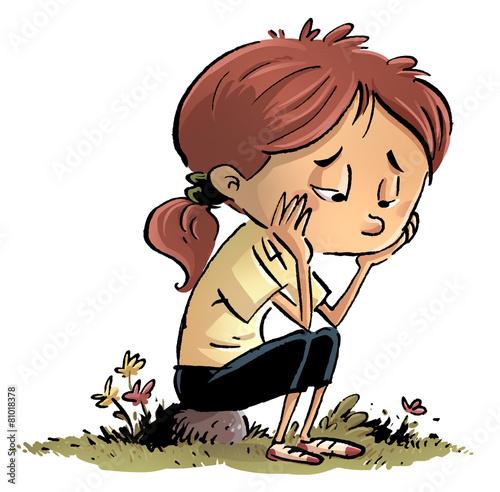 Fotografía  niña aburrida y triste