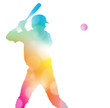 Abstract Baseball Player in Beautiful Summer Haze.