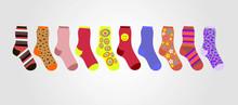Vector Colorful Socks On A Gra...