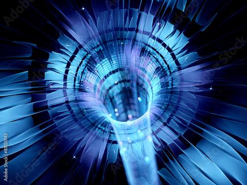 Staande foto Industrial geb. Blue glowing futuristic interstellar warp technology