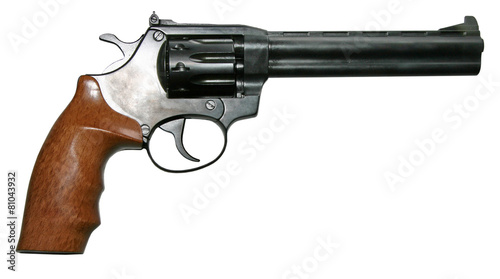 isolated modern two-colored firearm revolver gun Canvas Print