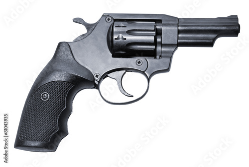 Photographie isolated modern black firearm revolver pistole gun