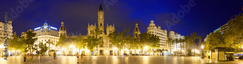 Panoramic view of Placa del Ajuntament in night. Valencia