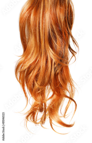 Photo  curl  Red Hair isolated on white background