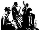 Plakat jazzowy z saksofonem, kontrabasem, fortepianem i trąbką - 81047918
