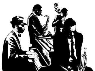 Panel Szklany Podświetlane Muzyka / Instrumenty Jazz poster with saxophone, double-bass, piano and trumpet