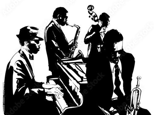 Plakaty czarno białe  jazz-poster-with-saxophone-double-bass-piano-and-trumpet