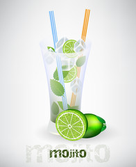 FototapetaGlass of mojito and drinking strew with lime and ice cubes