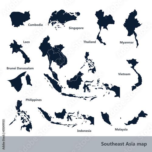 Foto  Asiatische Wirtschaftsgemeinschaft, Verband Südostasiens Karte vect