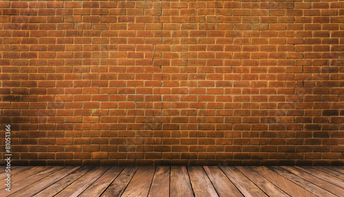 Fotobehang Baksteen muur Wood floor and red brick wall background