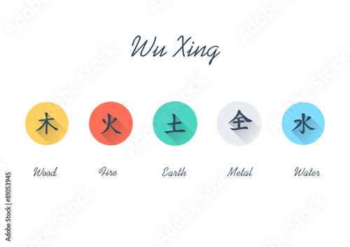 Photo  Five Element Flat Icon Set - Chinese Wu Xing symbols