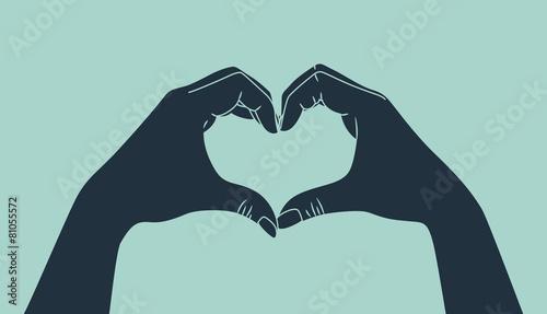 Fototapeta hand making heart sign