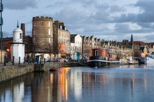 Old Builings On The Quay Of Leith Harbour, Edinburgh