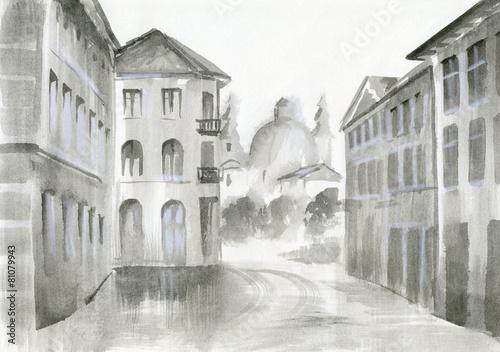 malarstwo-akwarelowe-widok-na-piekny-budynek-przytulna-ulice