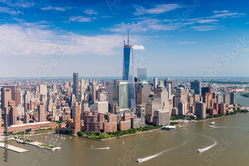 Aerial skyline of Lower Manhattan on a beautiful sunny day Canvas Print