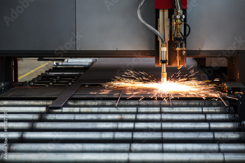 Fotografie, Obraz  Industrial cnc plasma cutting of metal plate