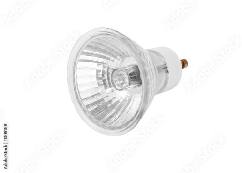 Obraz One halogen lamp, isolated on white background - fototapety do salonu