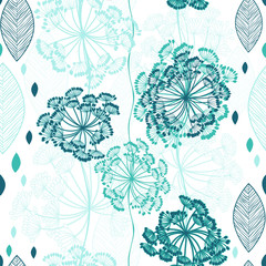 FototapetaSeamless pattern of abstract flowers. Hand-drawn floral backgrou