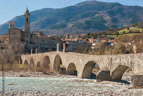 Panorama of Bobbio, ancient town in the north of Italy Canvas Print