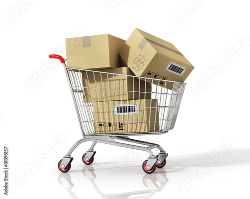 Fotografía  Shopping cart with boxes on white isolated background.