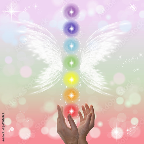 Healing Hands and seven chakras Canvas Print
