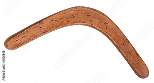 Photo  Old wooden boomerang