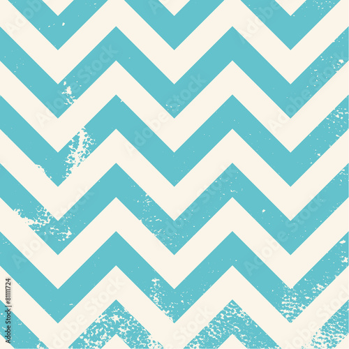 blue chevron pattern with distressed texture Canvas Print
