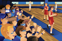 College Students Cheering For Their Team In A Basketball Game