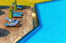 Luxury Swimming Pool With Blue...