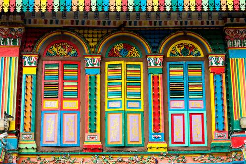 Tuinposter Singapore Colourful Architecture of Little India, Singapore