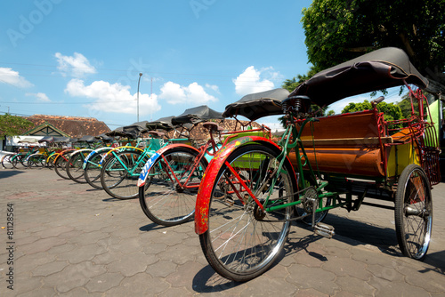 Keuken foto achterwand Indonesië Rickshaws in Yogykarta, Indonesia