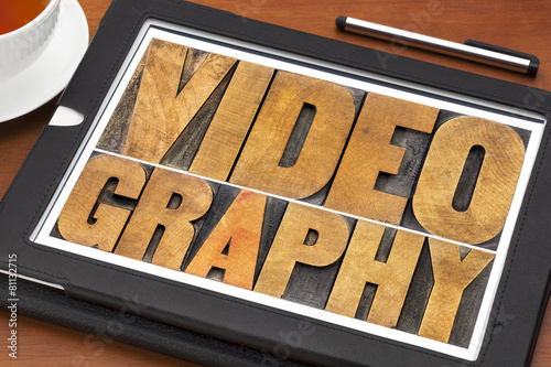 Fotografie, Obraz  videography word abstract in wood type