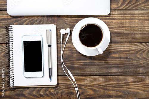 Fototapeta Laptop. Workspace on wood table with laptop, sketchbook with obraz na płótnie