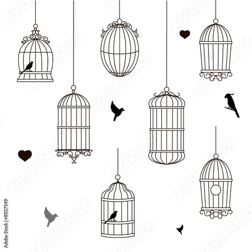 set of different style bird cage Wallpaper Mural