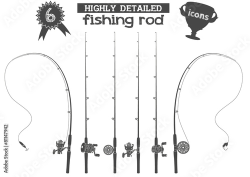 Stampa su Tela fishing rod icons