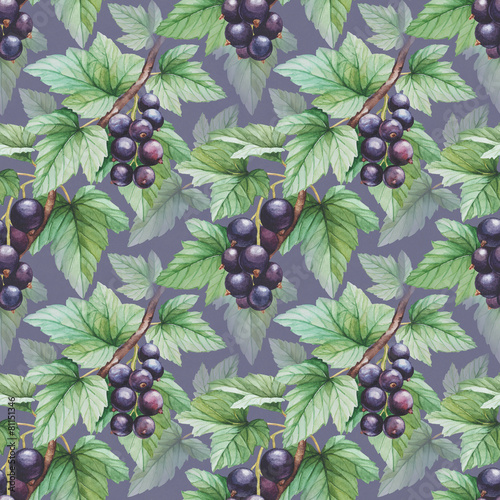 Seamless pattern with watercolor black currants illustration - 81151346