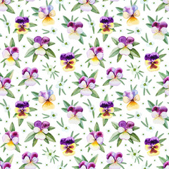 FototapetaSeamless pattern with watercolor illustrations of pansy flowers