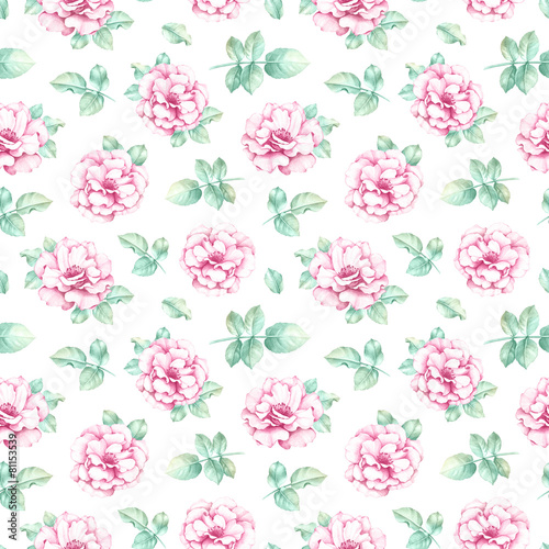 Fototapety, obrazy: Seamless pattern with pencil drawings of flowers