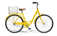 Yellow Vintage Style Bike Isolated On White Background. Side View